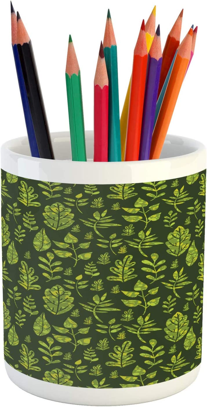Ambesonne Sage Pencil Pen Holder, Patterned Green Leaves Nature Inspired Composition Fresh Trees Woodland, Ceramic Pencil Holder for Desk Office Accessory, 3.6