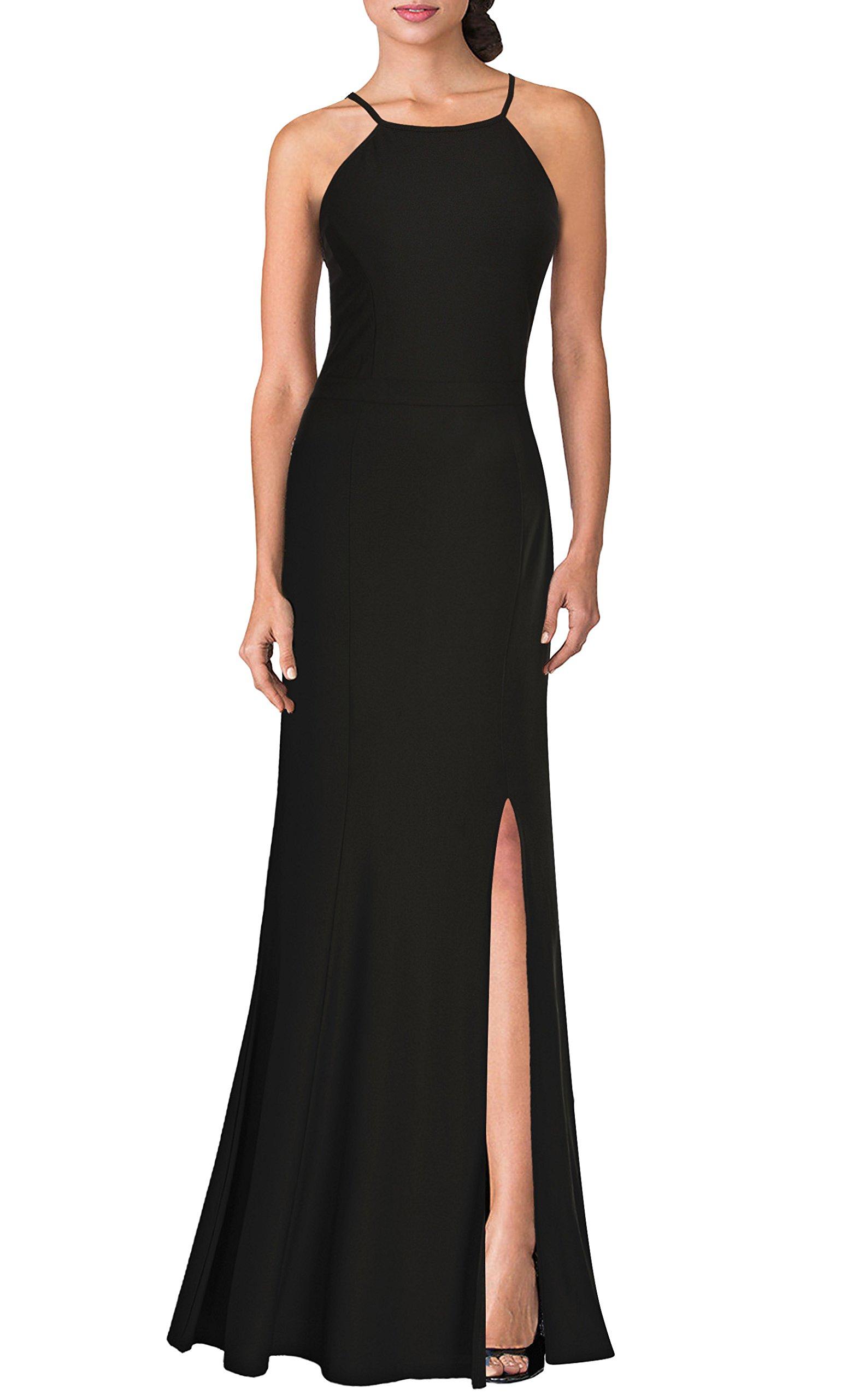 Mmondschein Women's Vintage Halter Wedding Bridesmaid Evening Long Dress Black L