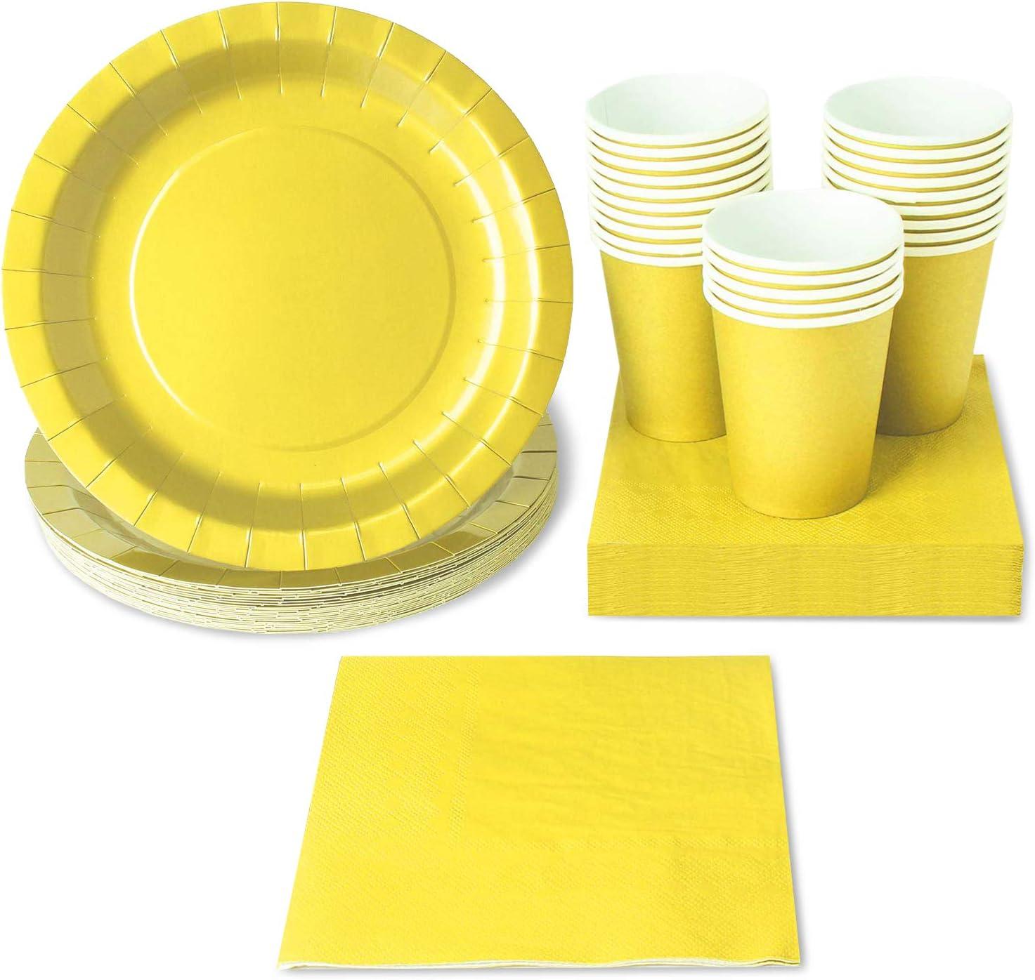 Juvale desechable de vajilla - Sirve 24 - Fiesta Amarillo -, Amarillas