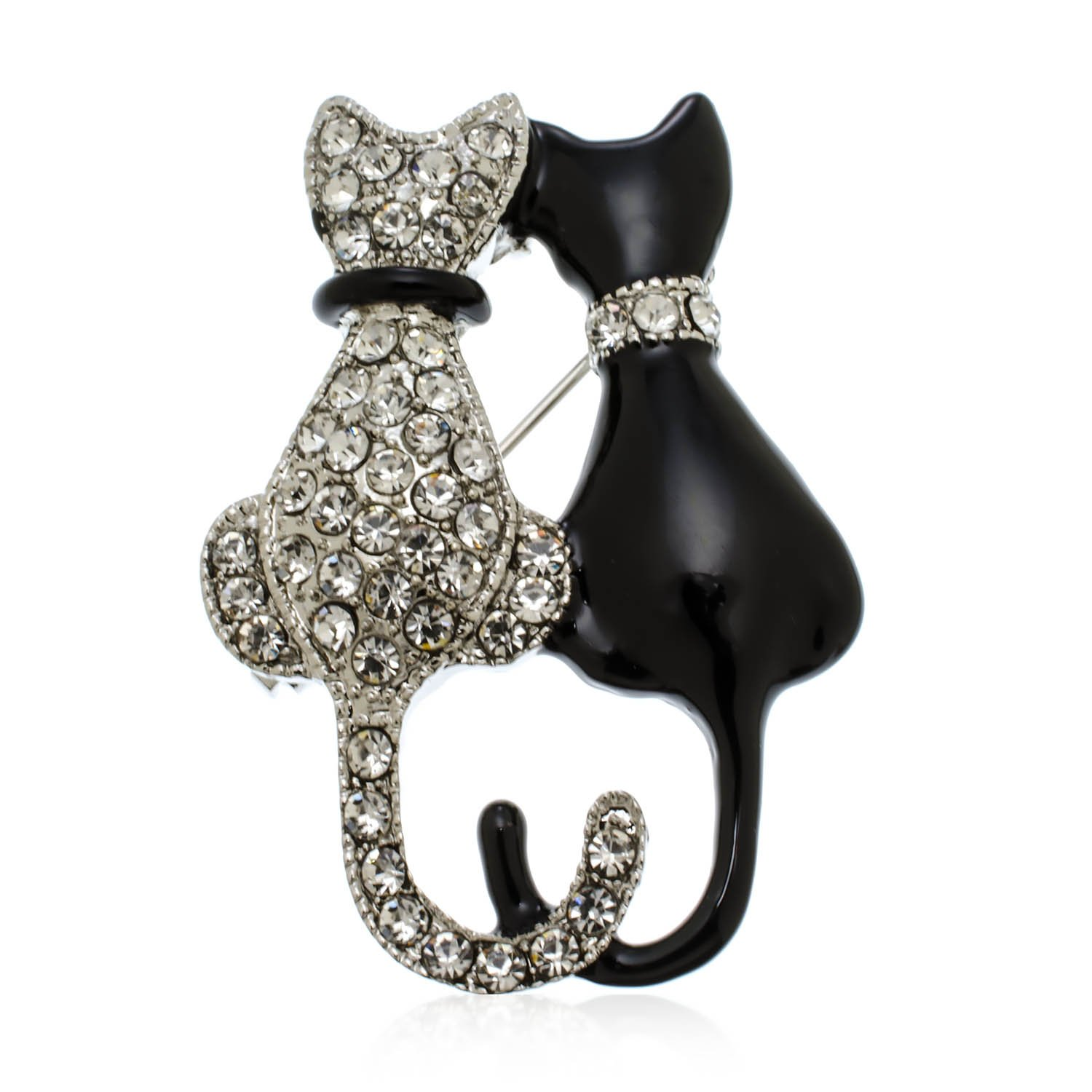 PammyJ Black and Crystal Double Twin Cat Brooch Pin