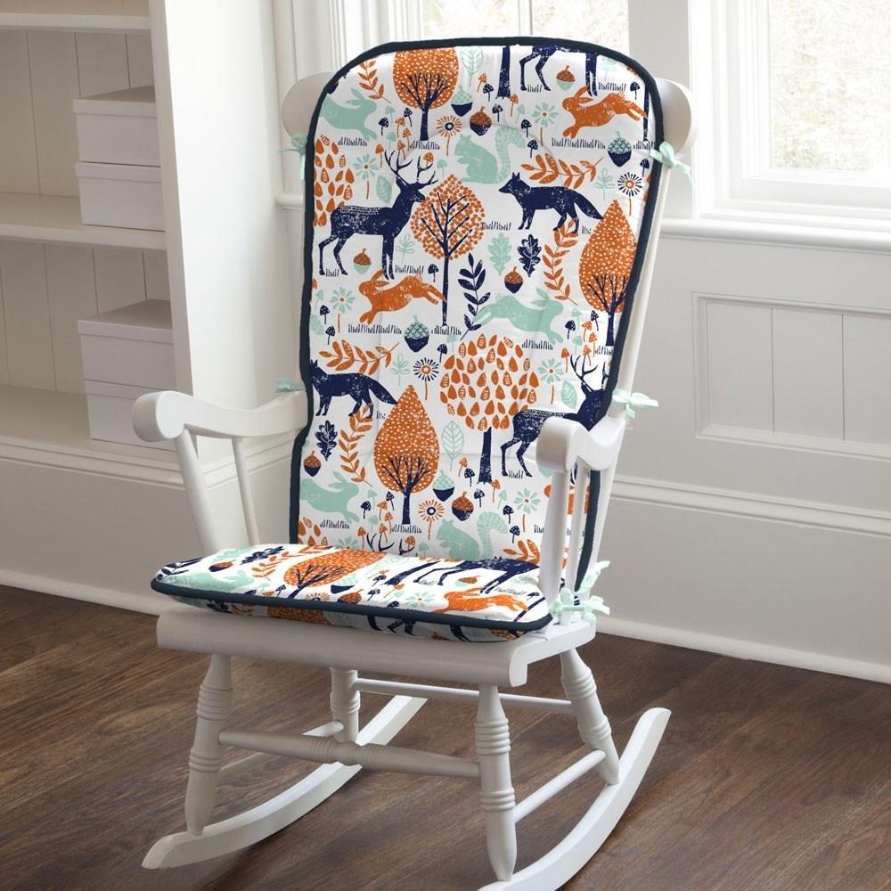 Carousel Designs Navy and Orange Woodland Rocking Chair Pad