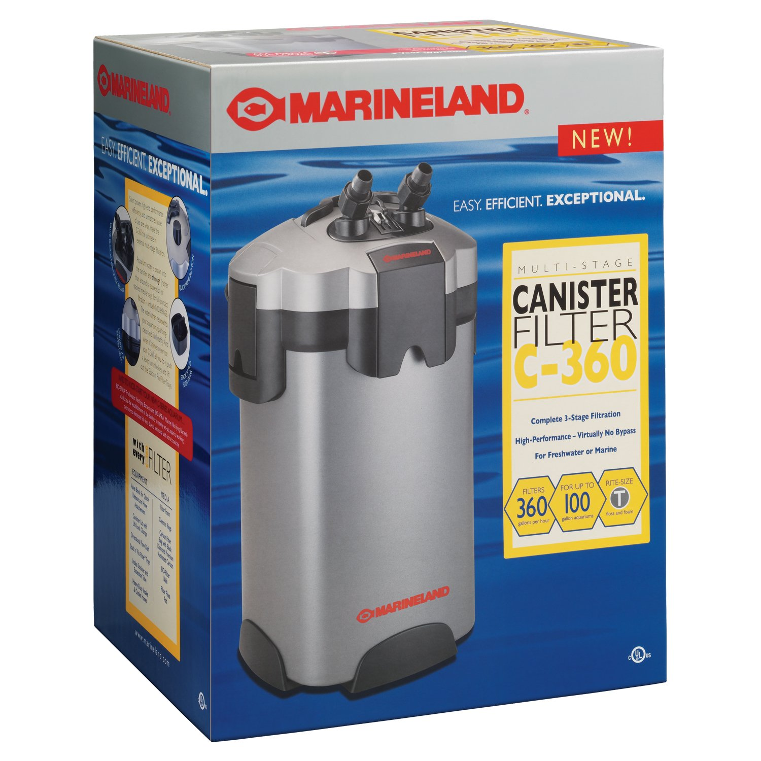 Marineland PC-ML360 Multi-stage Canister Filter, 55 to 100-Gallon, 360GPH by MarineLand B000NRTLVY