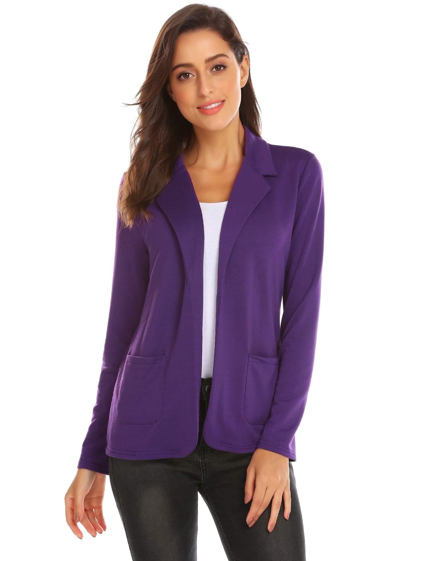 Yealsha Women's Blazer Jacket Lightweight Casual Slim Fit Sport Jacket Suit Coat Purple XXL