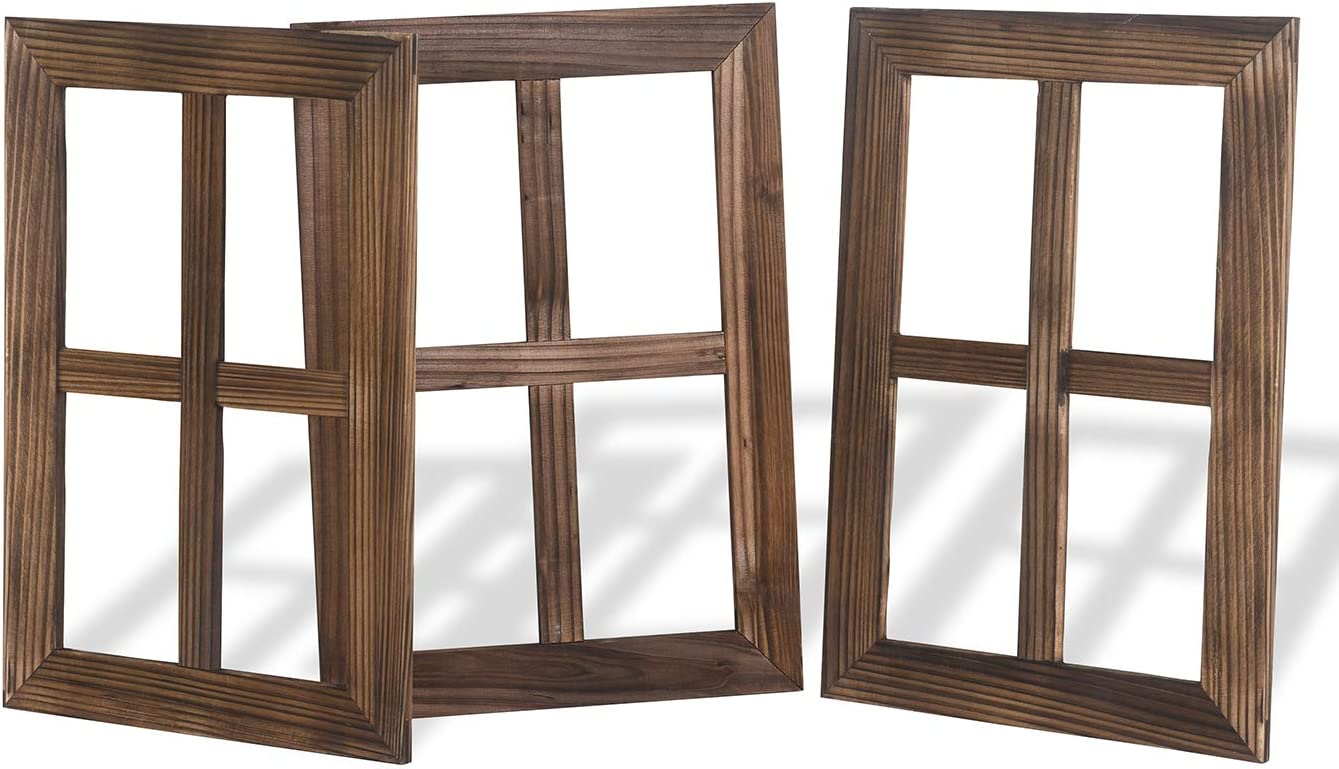 Rustic Wall Decor Window Frame, Farmhouse Wood 4 Pane Antique Wall Mounted Signs, Window Frame Home Rustic Room Decor, 3 Pack, Brown