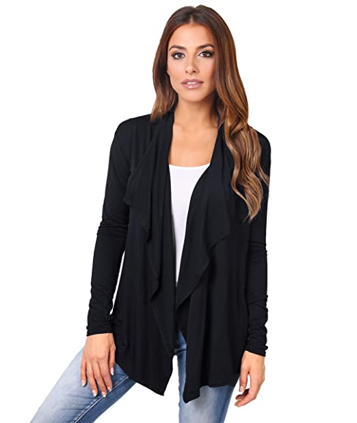 c5671e2eb7 KRISP® Women Basic Open Front Waterfall Boyfriend Button Down Cardigan  Shrug  Amazon.co.uk  Clothing