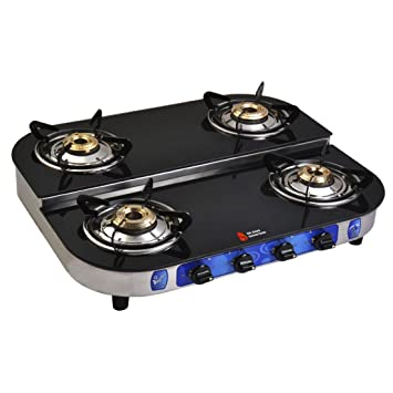 eb8be484766 Buy Suraksha Shine Crystal Bose Stainless Steel Body with Toughened Glass  Top 4 Tri Pin Brass Burner Gas Stoves. Online at Low Prices in India -  Amazon.in