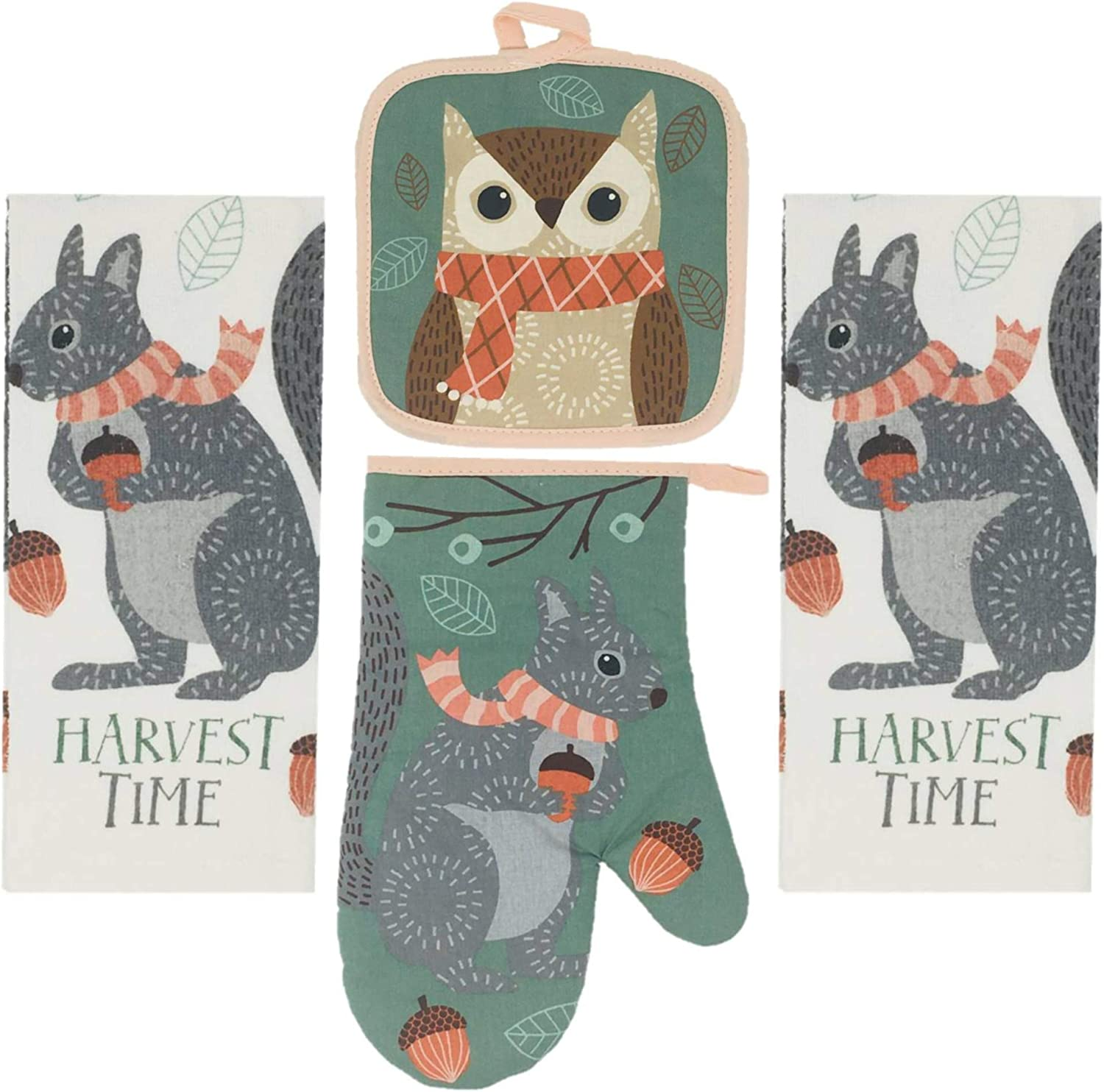 Way to Celebrate Fall Kitchen Towels, Oven Mitt, and Potholder 4 Piece Bundle Set (Harvest Owl)