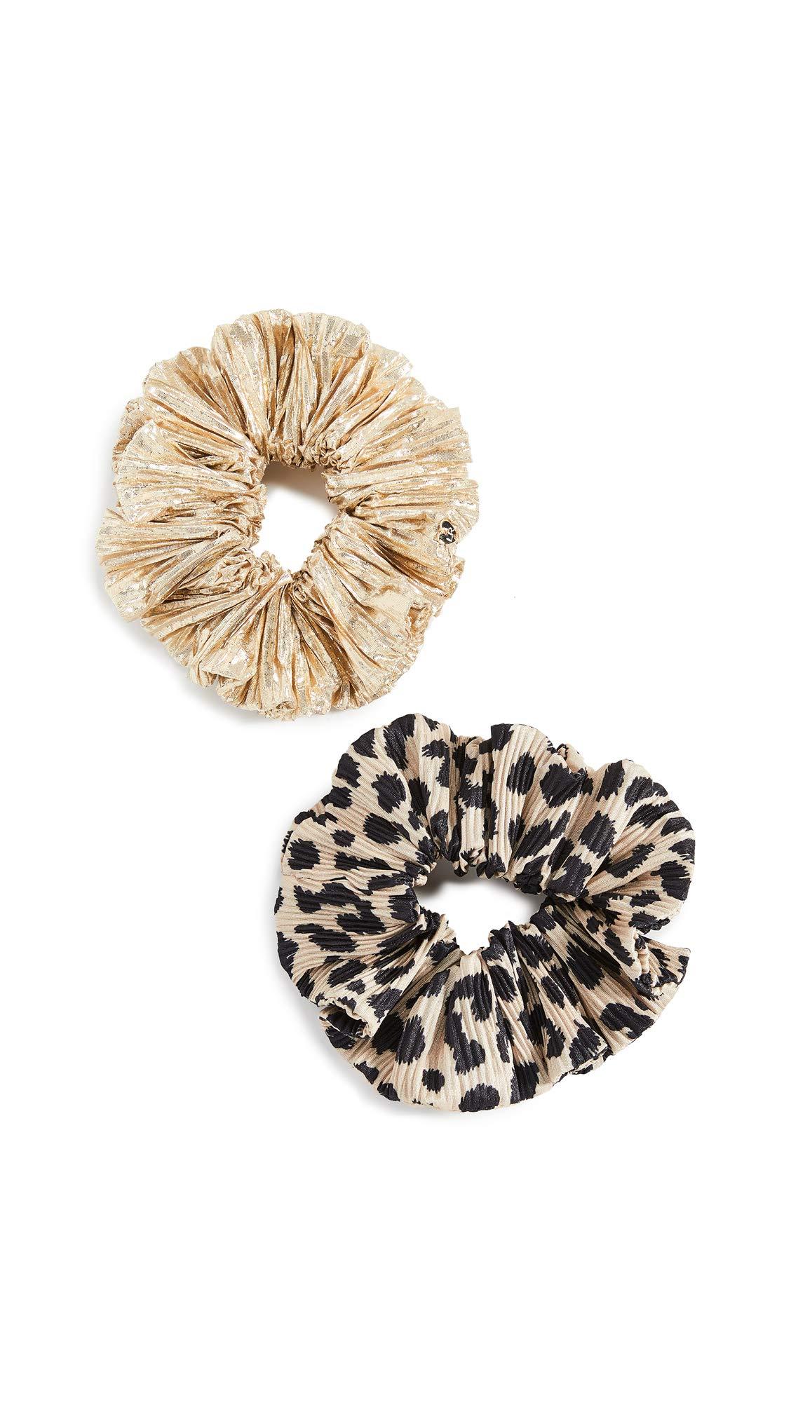 Loeffler Randall Women's Scrunchie Set, Leopard/Gold, One Size by Loeffler Randall