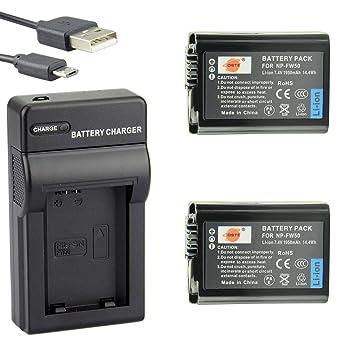DSTE NP-FW50 Li-ion Batería (2 paquetes) Traje y cargador micro USB para Sony A7, A3000, A6000, A6300, NEX-3, NEX-3N, NEX-5, NEX-5N, NEX-5R, NEX-5T, ...