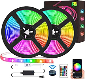 LED Strip Lights Kit 50ft(15M), Waterpoof Smart WiFi Wireless Phone Controlled Light Strip Kit 5050 RGB Works with Google Assistant and Alexa,for TV,Bedroom,Party and Home Decoration