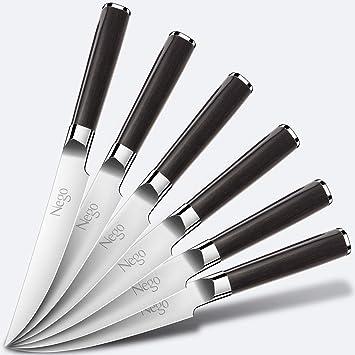 Nego Cuchillos para Carne - Cuchillos para Carne 6piezas, Cuchilla Punta Puntiaguda Hoja Borde 4.5 Pulgadas Cuchillo alemán Acero Inoxidable HC ...