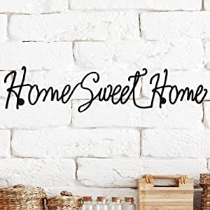 Smytex Home Metal Sweet Cursive Cutout Sign Home Sweet Home Metal Wall Sign 3D Word Art Home Accent Decor for Modern Rustic or Vintage Farmhouse Style Decoration