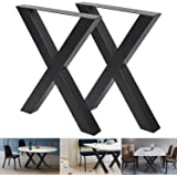 """Set of 2 Table Legs 28""""x30"""" Dining Table Legs X-Frame Metal Table Legs,Metal Legs for DIY Coffee Table Furniture Bench (28""""H×"""