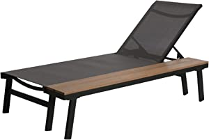 Christopher Knight Home 305145 John Outdoor Mesh and Aluminum Chaise Lounge with Side Table, Gray