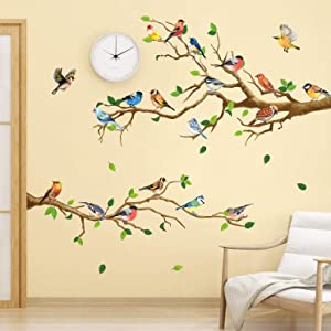 RW-ZSZ1069 Birds On Tree Wall Decals Tree Branch Wall Stickers Colorful Birds Green Tree Decals DIY Removable Colorful Flying Bird Tree Wall Art Decor for Kids Baby Bedroom Living Room Nursery Office