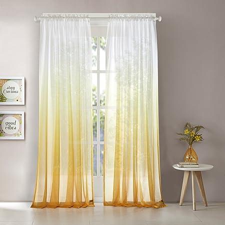 Dreaming Casa Rideau Voilage Dégradé de Couleur Jaune Passe Tringle  Transparent Décoration de Fenêtre Salle de Bain Balcon Chambre 2 Panneaux  ...
