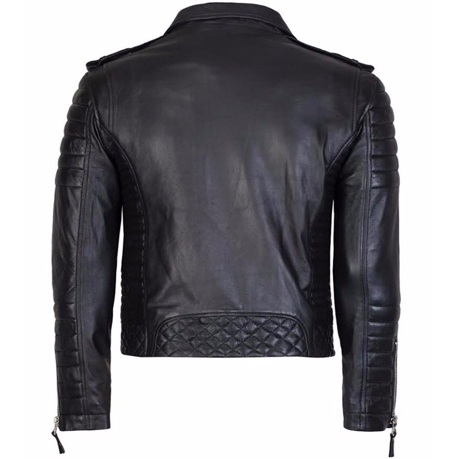 30772f61a Men's Quilted Black Diamond Style Leather Jacket at Amazon Men's ...