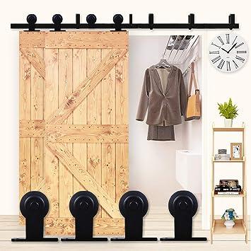 K-Home - Puerta corredera para puerta corredera con diseño de 8 pies, para decoración del hogar, silencioso para dos puertas: Amazon.es: Bricolaje y herramientas