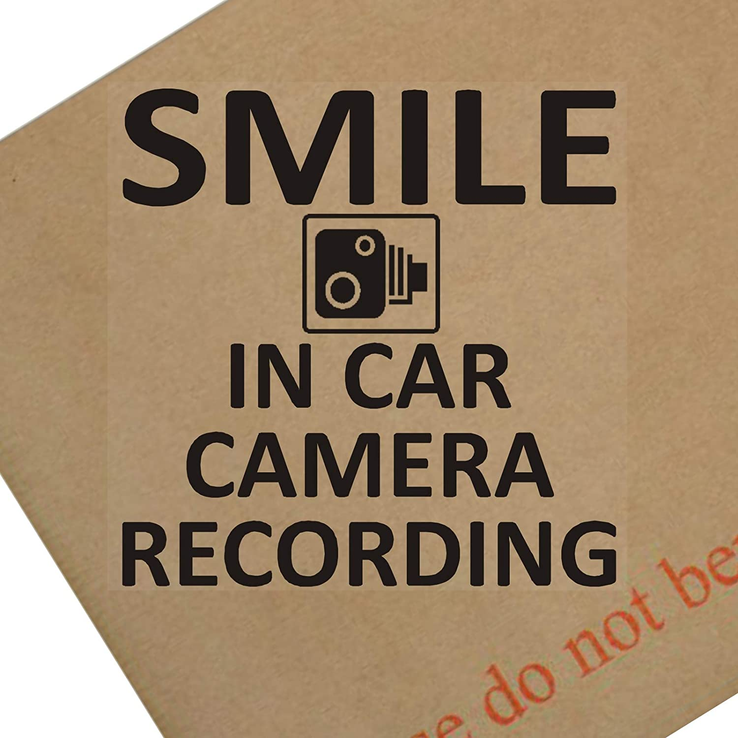 Platinum Place 1 x Smile In Car Camera Recording Window Sticker-BLACK-Smile CCTV Sign-Car, Truck, Taxi, Cab, Warning, Notice