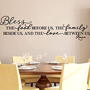 BOLLEPO Kitchen Wall Stickers Home Decor, Dining & Cooking Quote Decal Heart Removable Vinyl Art Decoration (Bless The Food Before Us, The Family Beside Us, and The Love Between Us, Amen) Design 2