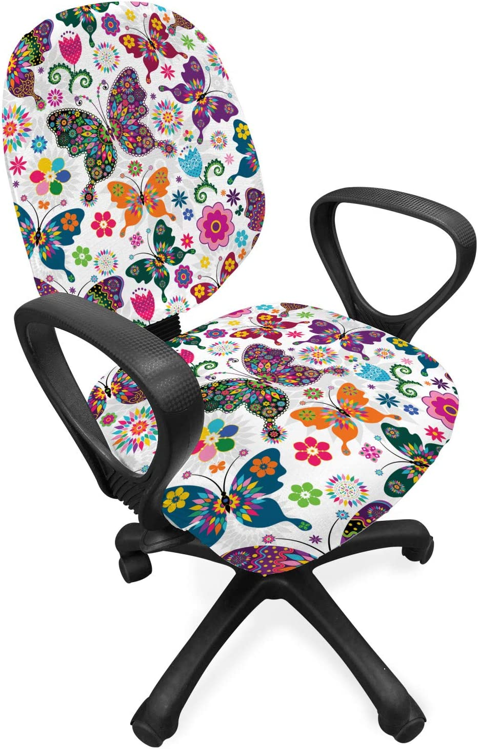 Ambesonne Butterfly Office Chair Slipcover, Sixties and Seventies Inspired Complex Image with Floral Elements and Butterflies, Protective Stretch Decorative Fabric Cover, Standard Size, White Pink