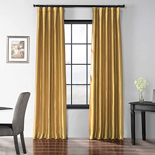 HPD Half Price Drapes PTCH-BO404-96 Blackout Faux Silk Taffeta Curtain 1 Panel