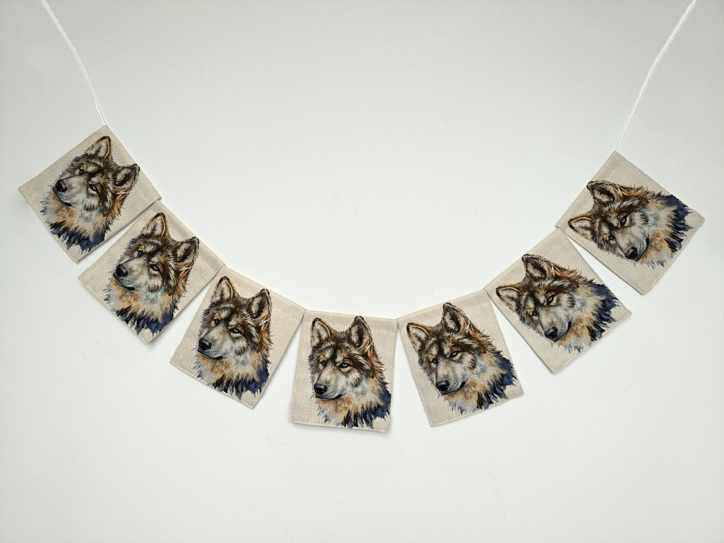Oil Painting Animal Cool Gray Wolf Banner Bunting Garland Flag Sign for Home Family Party Decoration