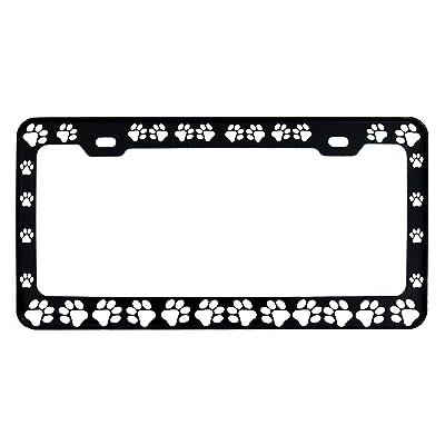 Dog Paws Steel Heavy Duty Black License Plate Frame Car Tag Holder: Automotive
