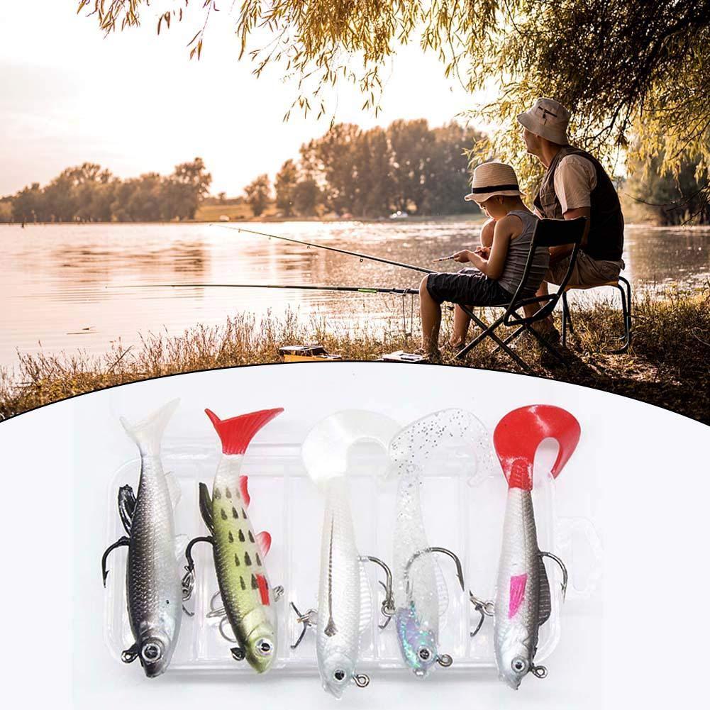 5 Piezas Se/ñuelos De Pesca Agua Dulce Vinilos Paquete Pescado De Plomo Adecuado para La Pesca Al Aire Libre.