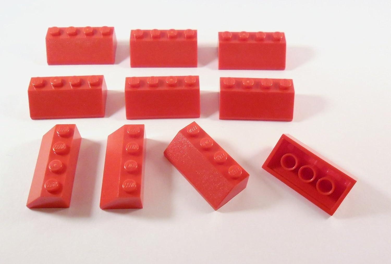 100 Lego Dachsteine Schrägsteine 2x4 rot NEU 3037