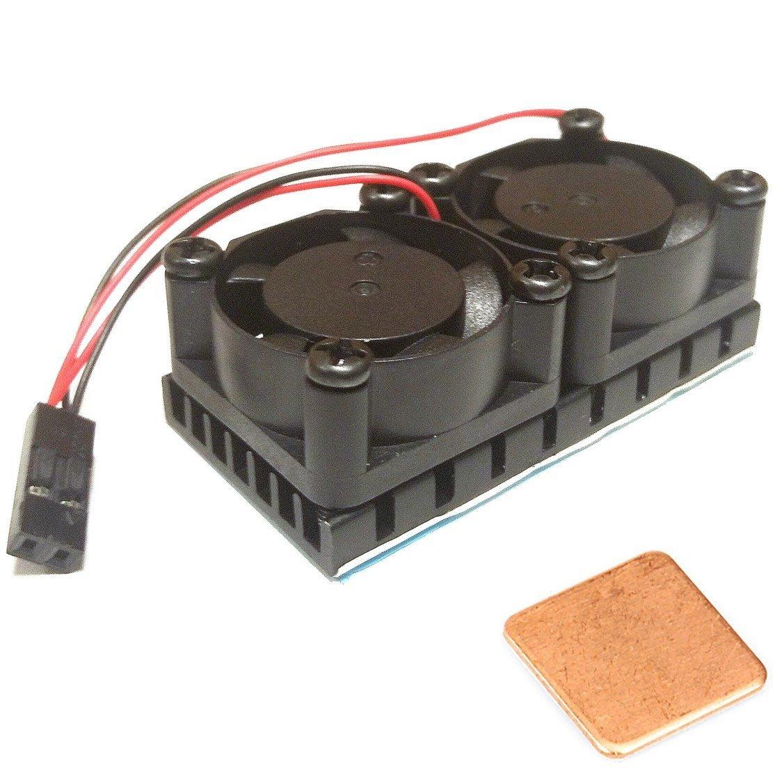 Easycargo Raspberry Pi Dual Fan Heatsink kit + Copper pad shim + pre-applied thermal conductive adhesive tape for cooling Raspberry Pi 3B+, Raspberry Pi 3 B, Raspberry Pi 2, Raspberry Pi B+