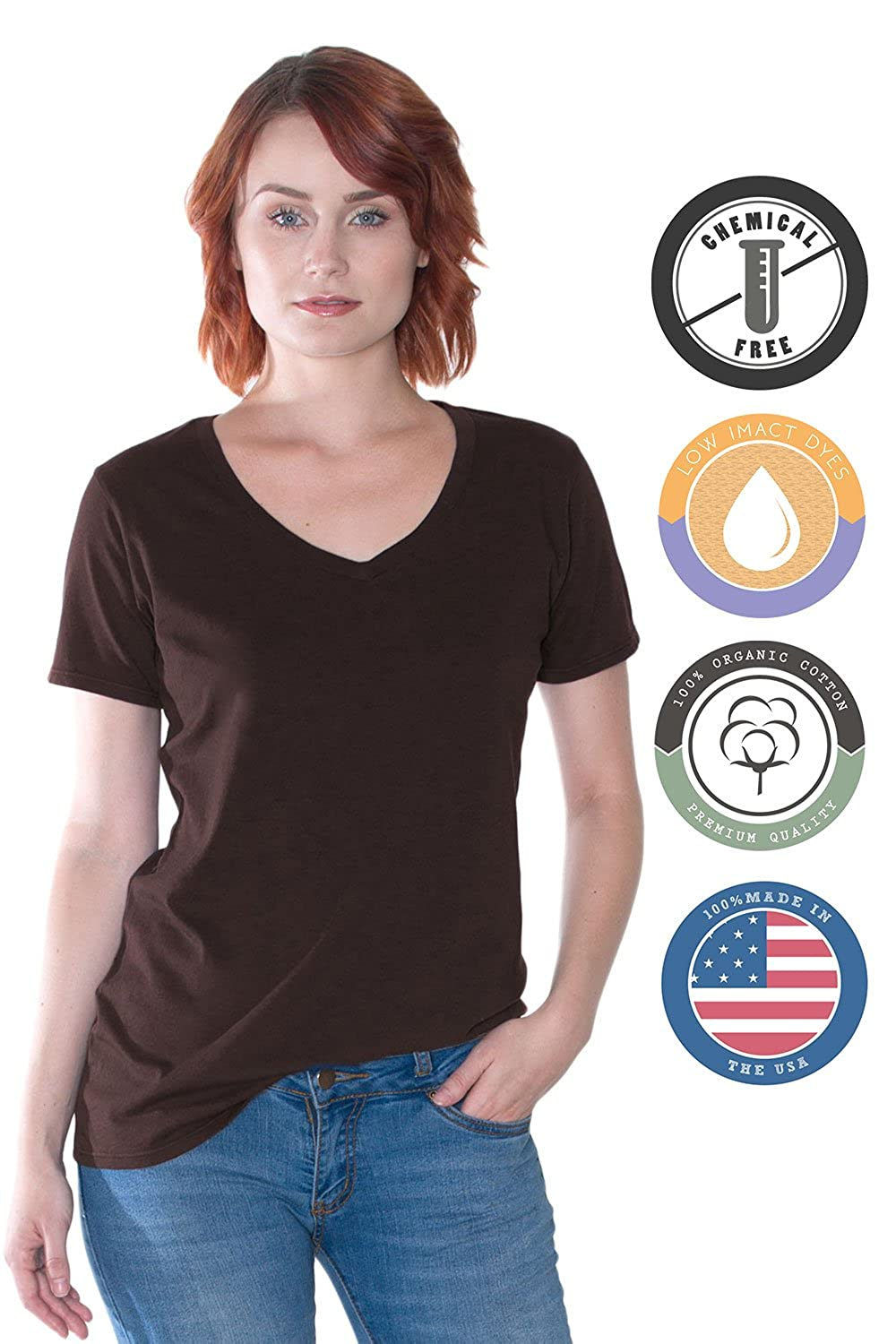 25b04d22cae In Touch Organic Cotton V-Neck Tee, Non-GMO, Eco Friendly, Made in The USA  at Amazon Women's Clothing store: