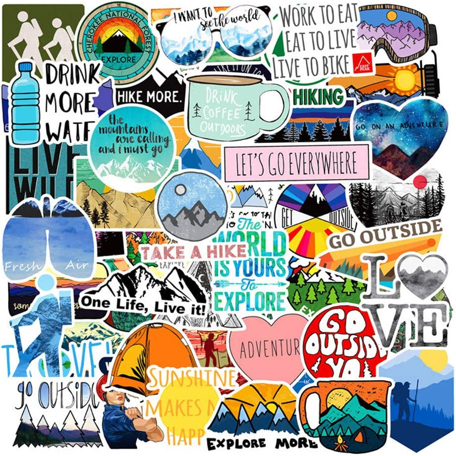 Vinyl VSCO Girls Stickers Hydro Flask Waterproof Skateboard Stickers for Water Bottle DIY Xmas Decoration Laptop Decals Gift Card Luggage Car Bicycle Music Film Guitar Travel Case Outdoor Sport 50Pack