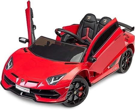 BEE BEE Auto elettrica per Bambini 12V. Lamborghini Aventador, Macchina con luci LED e Display multimediale (Rosso)