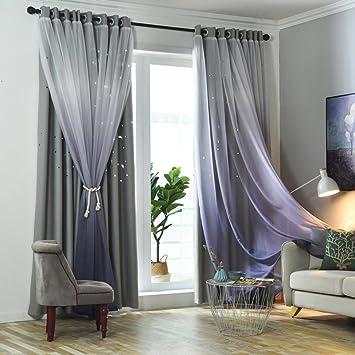 Nclon Farbverlauf Voile Vorhänge gardinen,Schlafzimmer Licht blockiert  Nordische Sterne Hohle Spitze Vorhänge gardinen-grau 1 Panel W130cm*D200cm