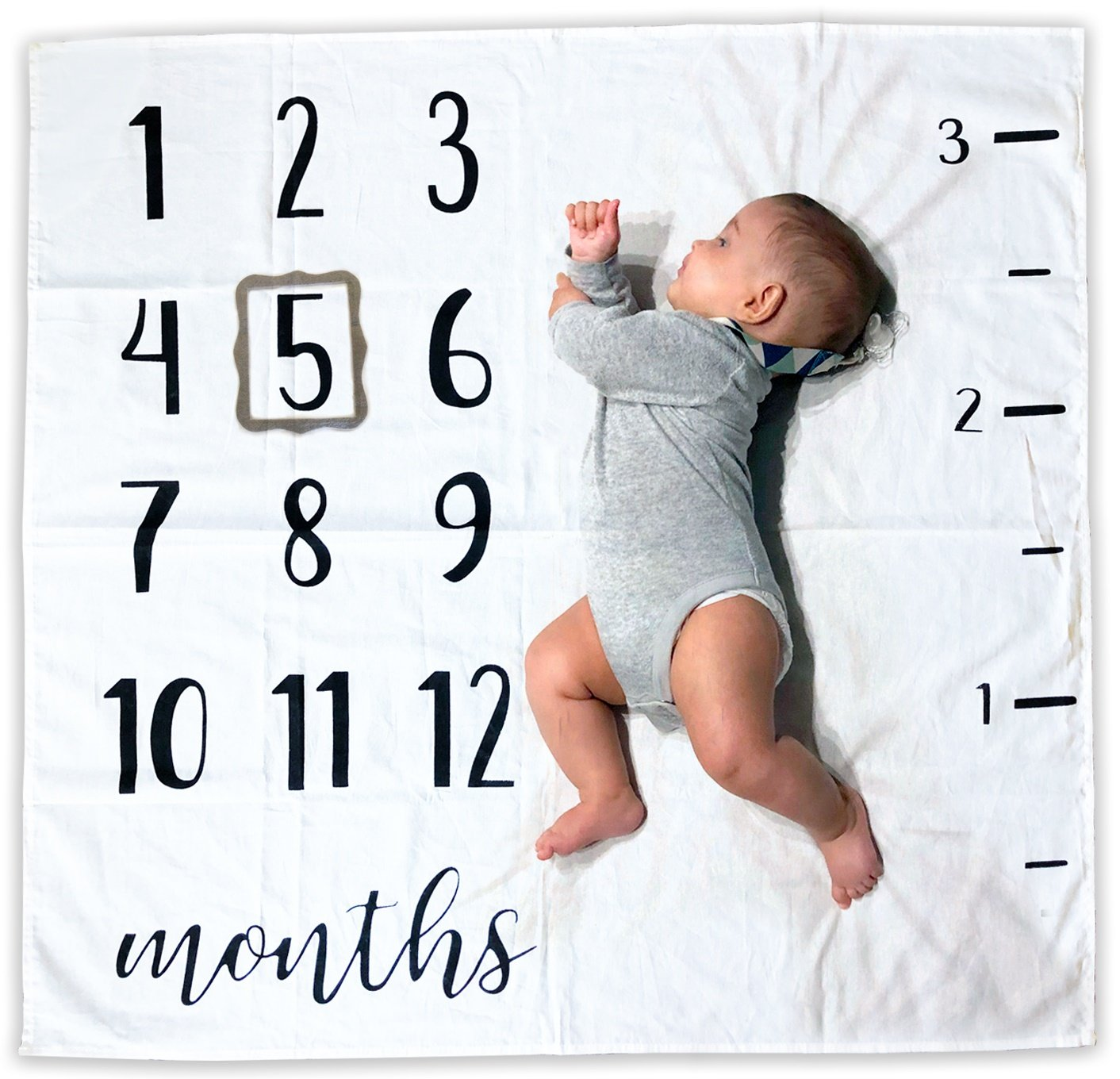 Baby Monthly Milestone Blanket | Includes Picture Frame and Ruler | 1 to 12 Months | 100% Organic Cotton | Best Baby Shower Gift | Photography Backdrop Photo Prop for Newborn Boy and Girl by Novo Baby