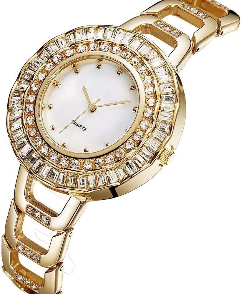 Golden Reloj de Cuarzo para Mujer, diseño de Diamantes, 40