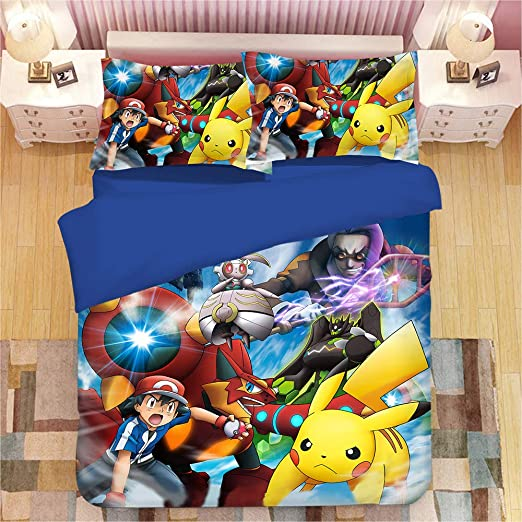 Full Size Pokemon Bedding Set Pikachu Duvet Bed Sheet Cover 2x Pillow Cases