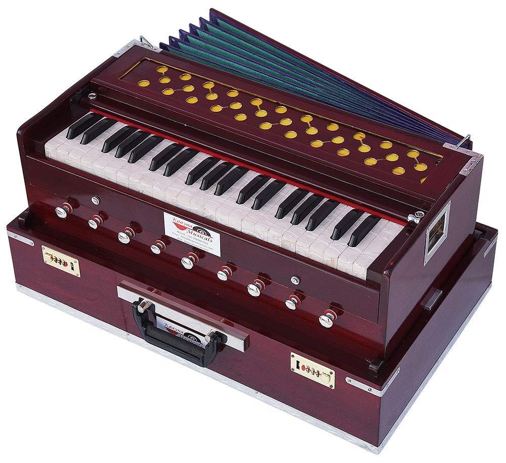 Harmonium Traveler/Portable/Folding Type By Kaayna Musicals, 9 Stops- 5 Main & 4 Drone, 3½ Octaves, Coupler, Dark Colour, Gig Bag, Bass-Male Reed - 440 Hz, Suitable for Yoga, Bhajan, Kirtan, Mantra by Kaayna Musicals (Image #4)