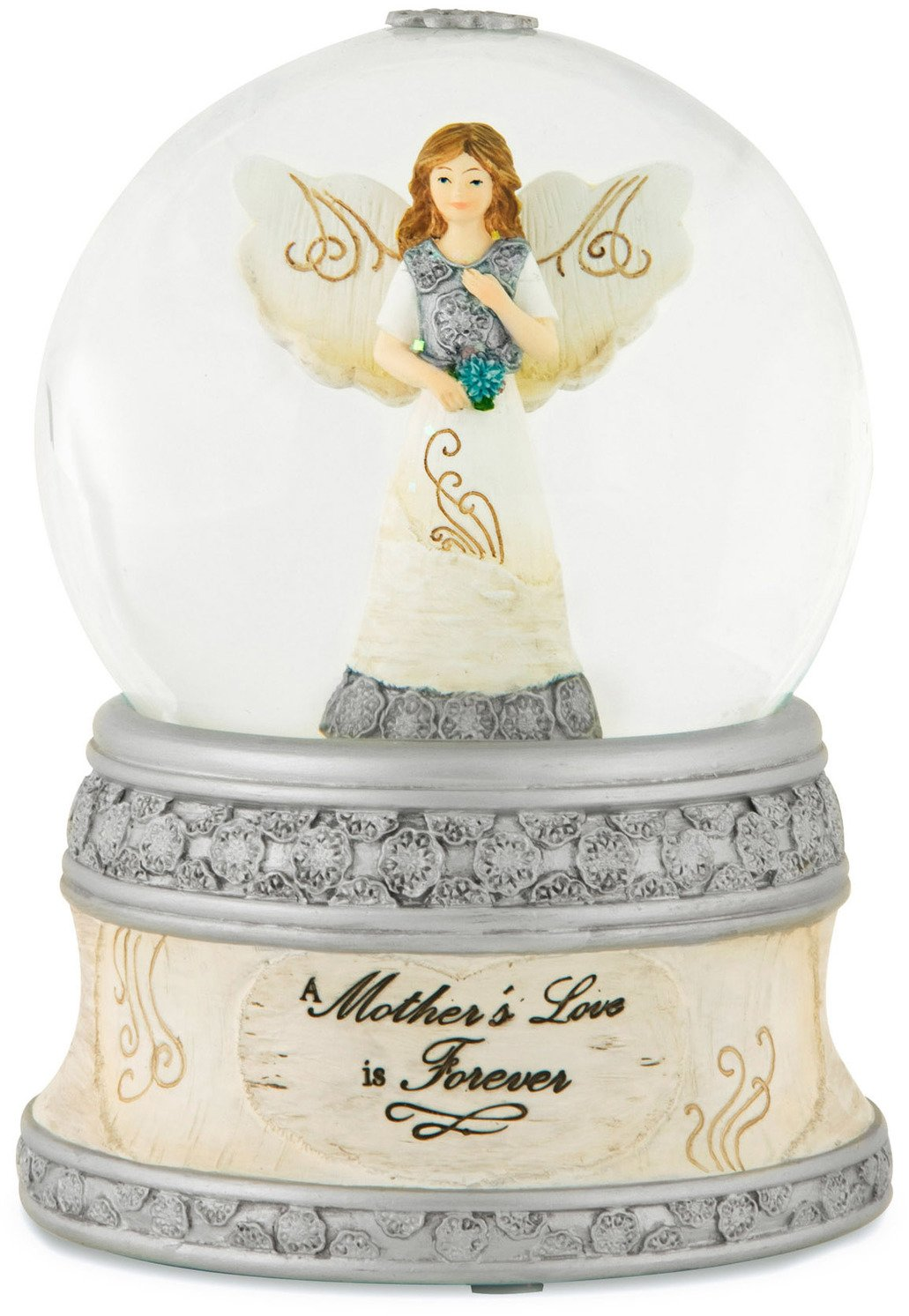 Pavilion Gift Company Elements 82329 100mm Musical Water Globe with Angel Figurine, A Mother's Love, 6-Inch