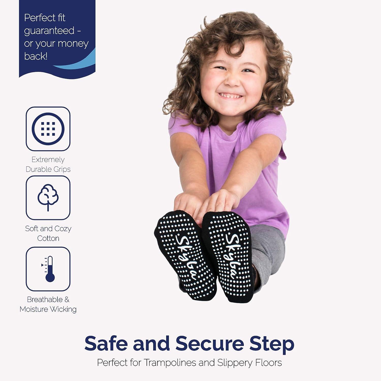 Kids Children Toddlers Girls Skyba Non Slip Socks Anti Skid Grip for Boys Black- 4 Pairs