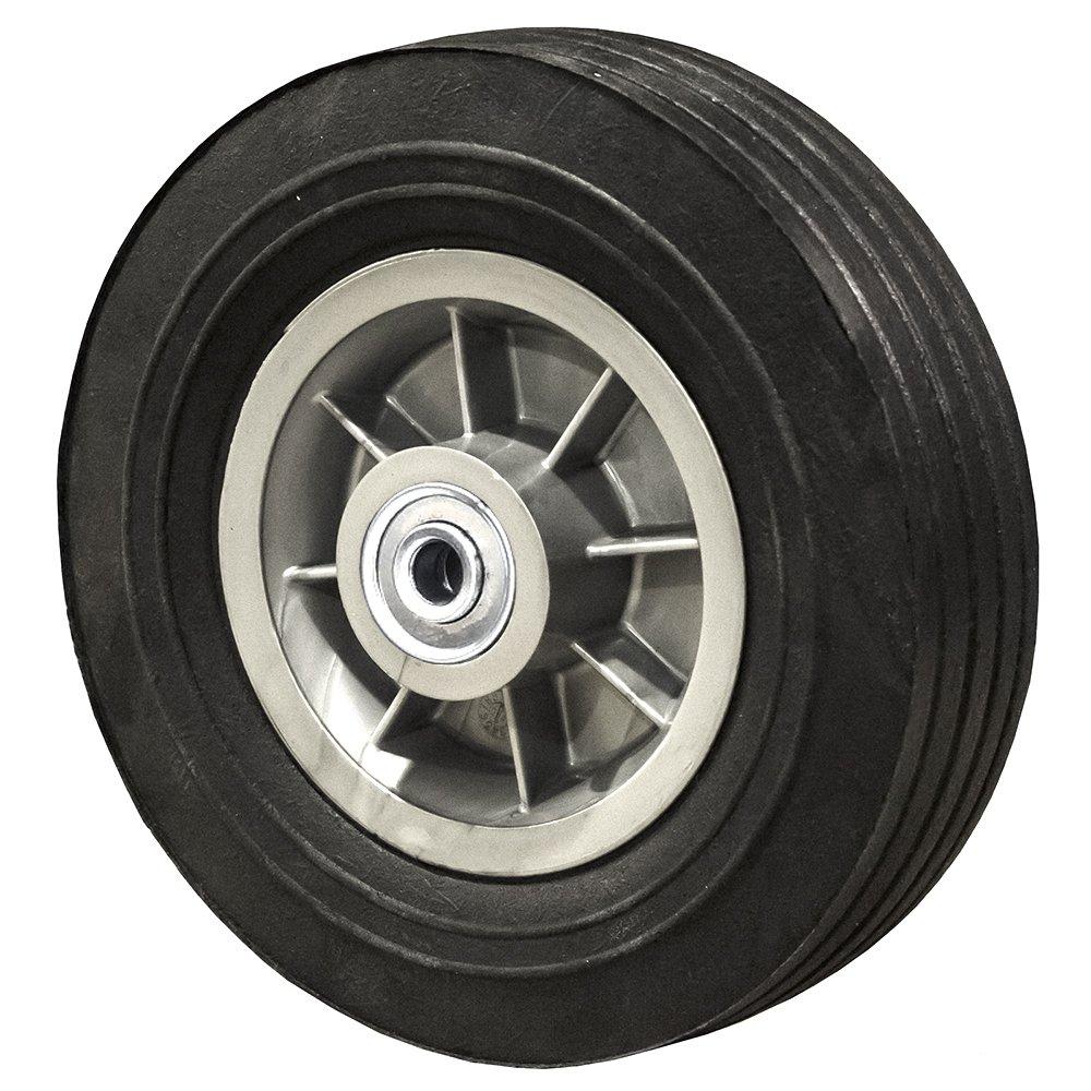 8'' Flat Free Hand Truck Tire - Wheel 8'' x 2.5'' - 2.5'' Centered Hub - 5/8'' Axle Bore - 450 lb