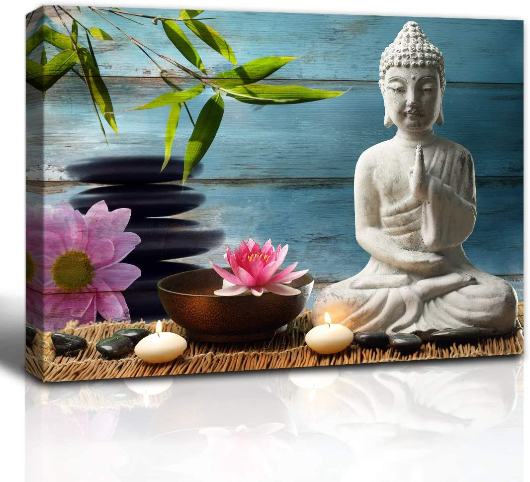 The Melody Art Zen Home Decor Buddha Statue Lotus Flower Bamboo and Black Stone Wooden Wall Decorations Bathroom Wall Art 12x16 inch, Framed, 1 Panel