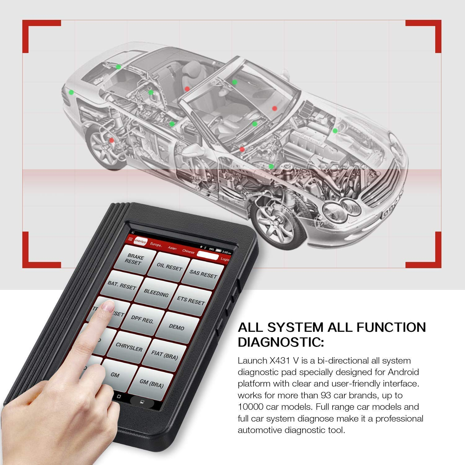 LAUNCH X431 V PRO Bi-Directional OBD2 Scan Tool Actuation Test,ECU Coding,Key Programming, Reset Functions,One-Key Generate Vehicle Health Report,Live Data Graphing-Free Update by LAUNCH (Image #6)