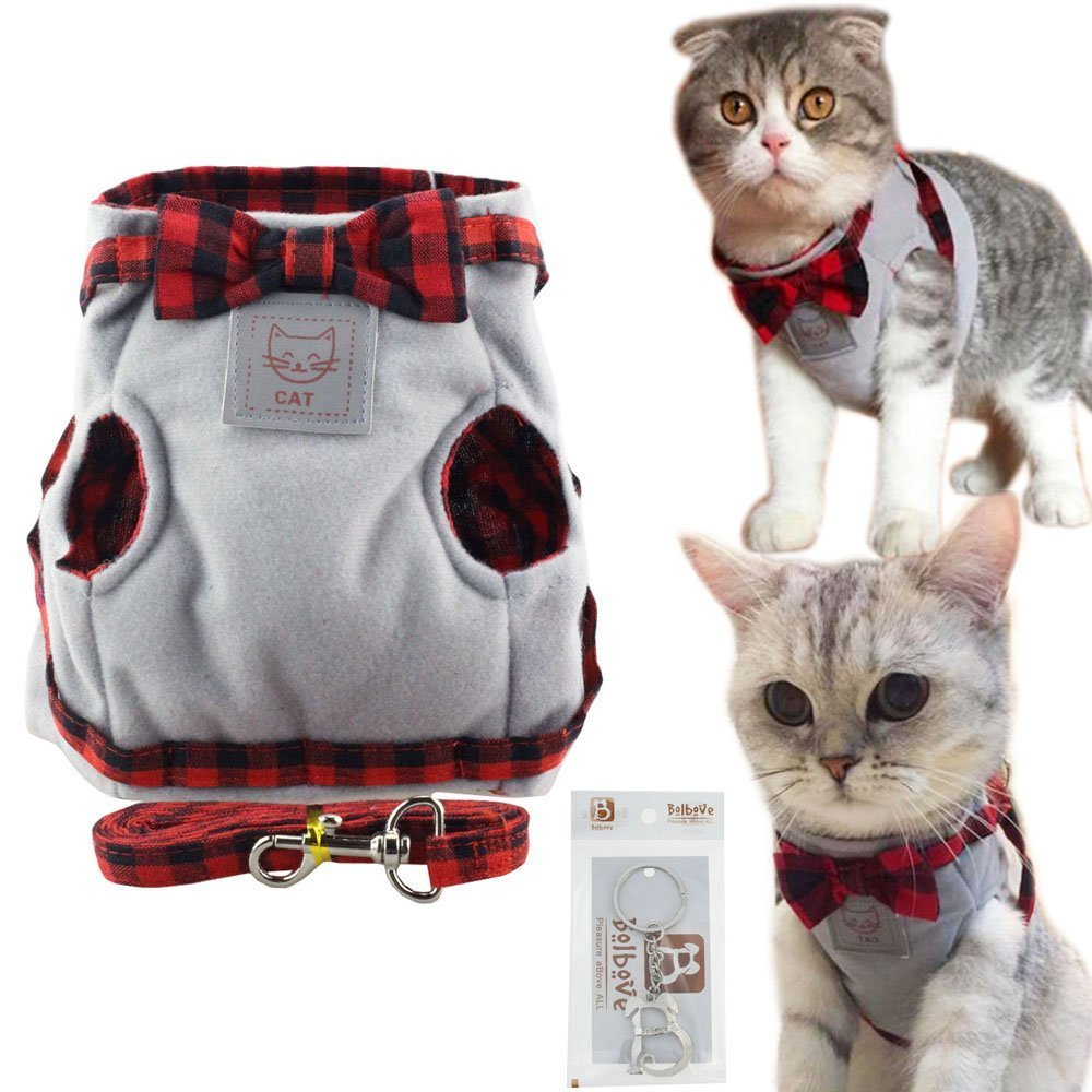 Bolbove Cute Kitty Bowtie Lovely Plaid Jacket Vest Harness and Leash Set for Cats (Medium, Grey)