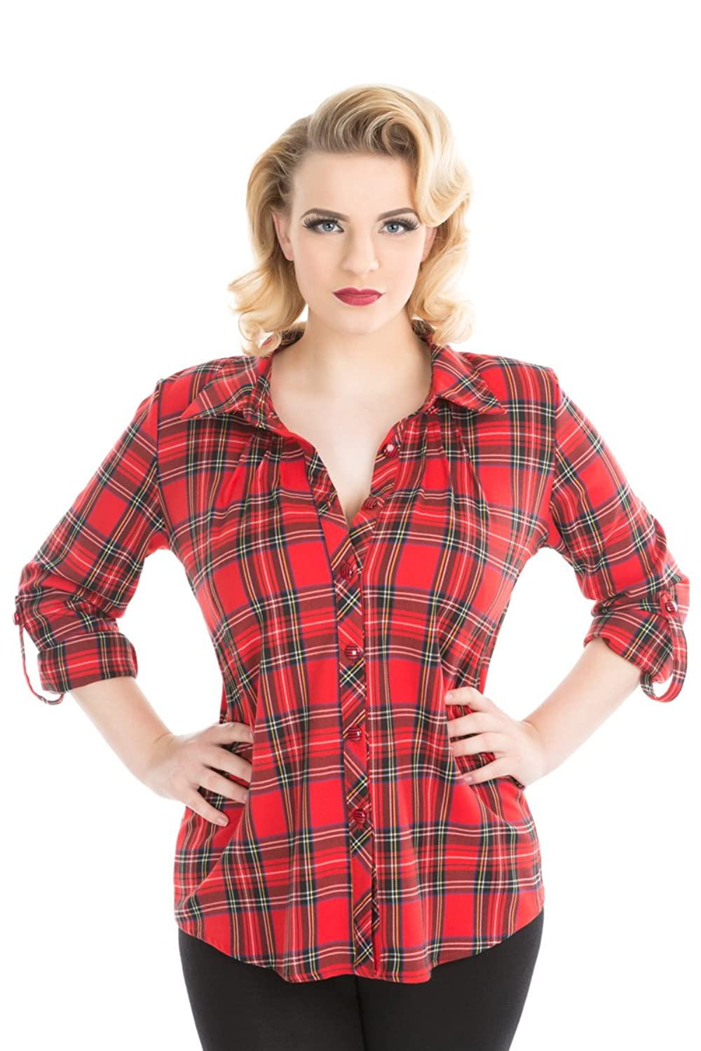 Rockabilly Dresses | Rockabilly Clothing | Viva Las Vegas hearts and Roses Clothing Tartan Shirt In Red (Shipped From The US and US Sizes) $29.88 AT vintagedancer.com