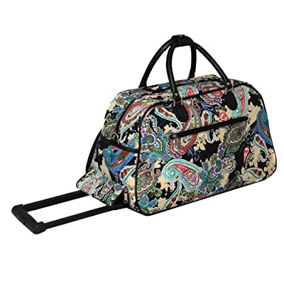8ec7a999f246 1 Piece Multi Color Paisley Rolling Carry On Duffle Bag
