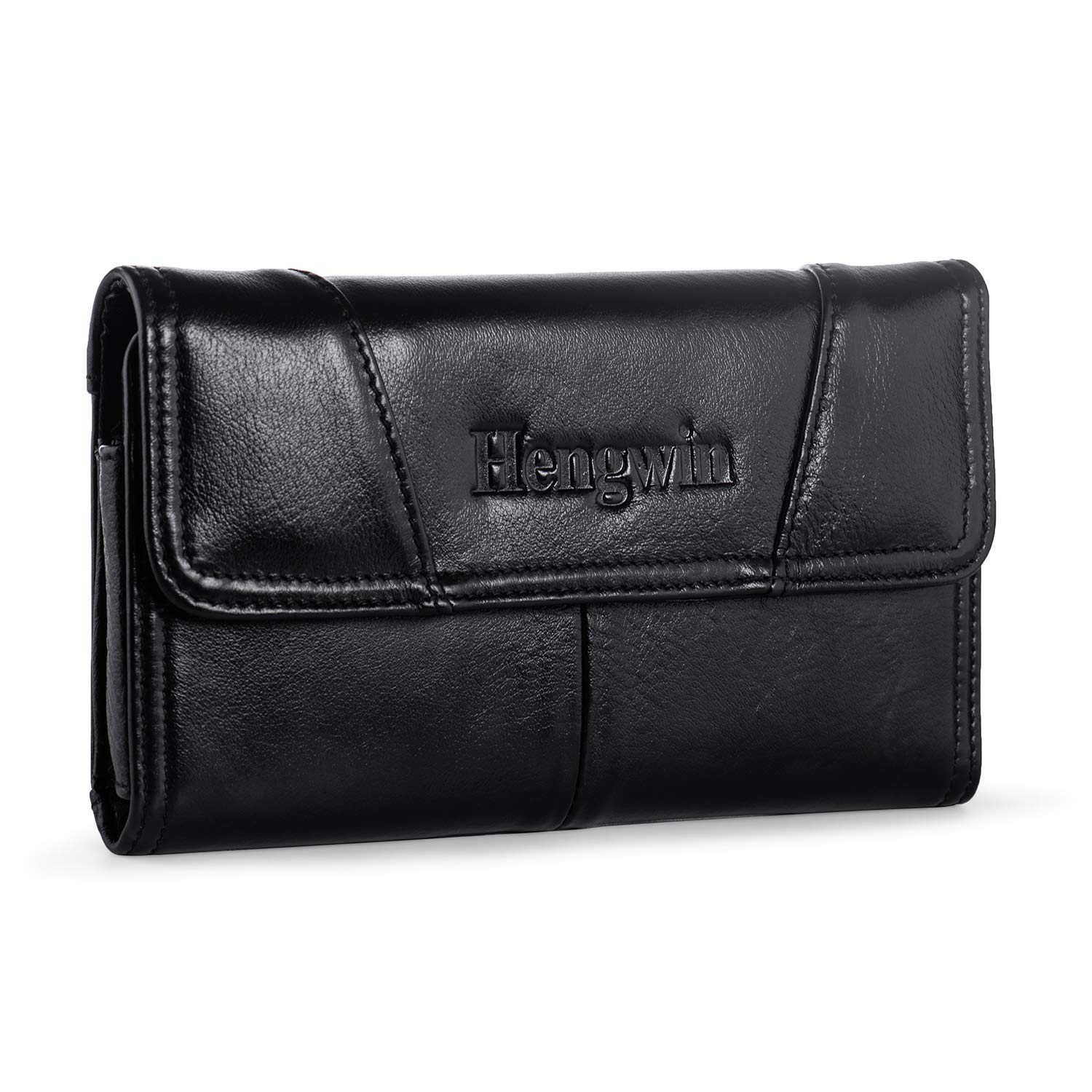 Hengwin iPhone 8 Plus Holster Case Belt Loop Phone Pouch Holster Case iPhone Xs Max Belt Holster Men Purse Leather Waist Bag for iPhone 7 6S Plus Samsung Galaxy Samsung S9 S8 Plus Note 5 4 (Black)