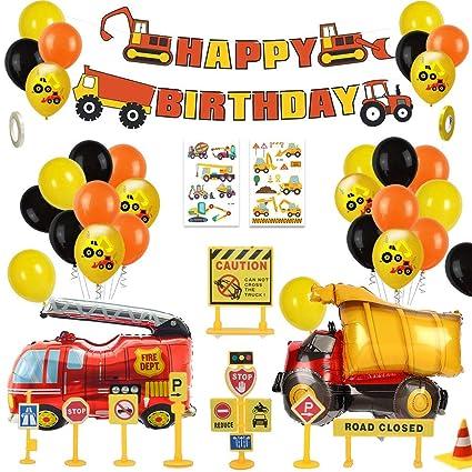 MMTX Decoracion Cumpleaños Globos de Feliz Cumpleaños Primer Cumpleaños Niño 1 año con Guirnalda Cumpleaños, Vehículo Camión Bomberos Globo de ...