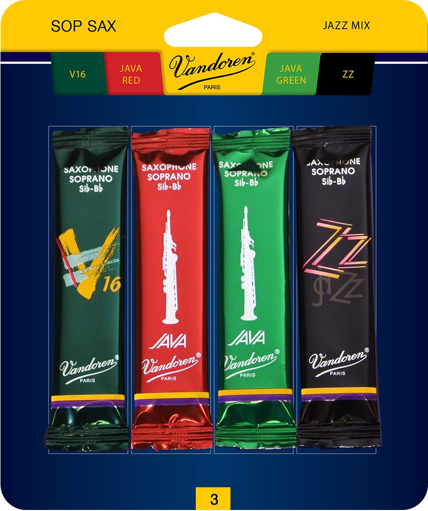 Vandoren SRMIXS3 Soprano Sax Jazz Reed Mix Card includes 1 each ZZ, V16, JAVA and JAVA Red Strength 3